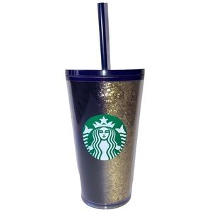 Starbucks Glitter Gold Navy Blue Cold Cup 2020